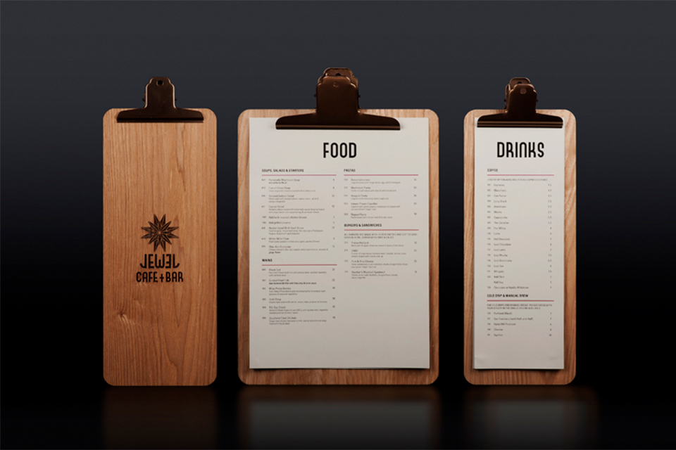 Jewel Cafe Bar Menu Board